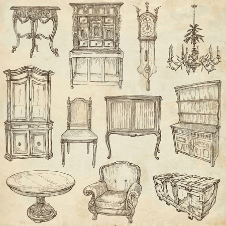 old furniture: FURNITURE - Collection (no.1) of an hand drawn illustrations. Description - Full sized hand drawn illustrations, freehand sketches, drawing on old paper.