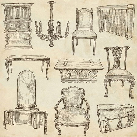 sized: FURNITURE - Collection (no.2) of an hand drawn illustrations. Description - Full sized hand drawn illustrations, freehand sketches, drawing on old paper.