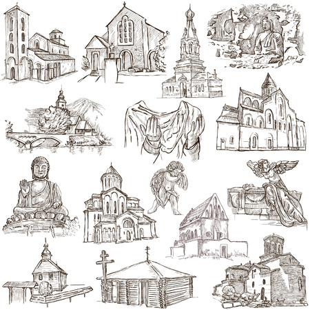 holy place: PLACES OF WORSHIP - Collection of an hand drawn illustrations. Description - Full sized hand drawn illustrations, freehand sketches, drawing on white background.