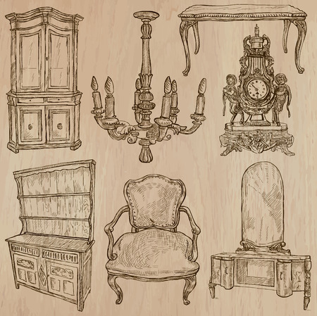 sideboard: FURNITURE (pack no.1) - Collection of an hand drawn vector illustrations. Each drawing comprise a few layers of lines, the colored background is isolated. Easy editable.
