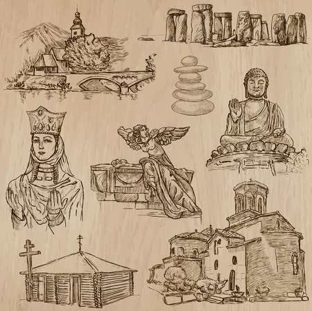 religious: RELIGIOUS around the World (vector pack no.13). Collection of an hand drawn illustrations (original freehand sketches). Each drawing comprises few layers of lines, the colored background is isolated.