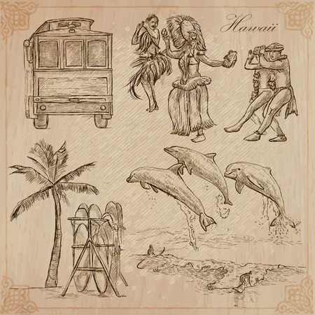 hawaii: Travel: HAWAII USA no.1. Collection of an hand drawn vector illustrations. Freehand sketching. Each drawing compris layers of lines. Colored background is isolated. Editable in layers and groups.