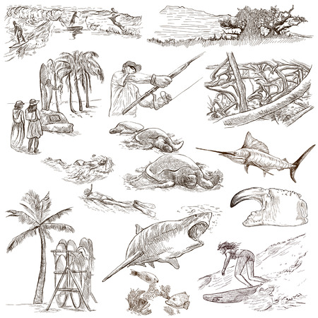 hawaii: Travel series: HAWAII USA pack an no.3 Collection of hand drawn illustrations. Description: Full sized hand drawn illustrations freehand sketches. Drawing on white background.