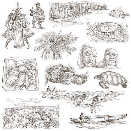 sized: Travel series: HAWAII USA pack an no.2 Collection of hand drawn illustrations. Description: Full sized hand drawn illustrations freehand sketches. Drawing on white background.