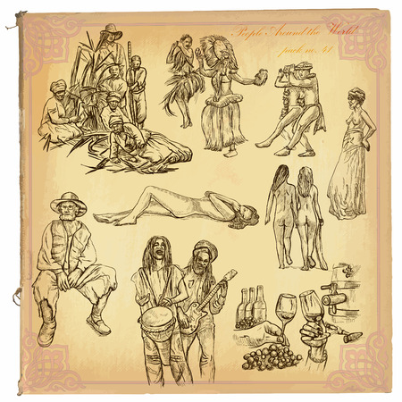 bum: People, Natives around the World (no.41). Collection of an hand drawn vector illustrations (freehand sketching). Each drawing comprises a few layers of lines. Colored background is isolated. Editable.