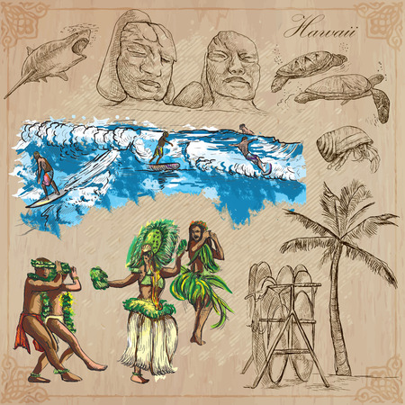Travel HAWAII USA no.8. Collection of an hand drawn vector illustrations. Freehand sketching. Each drawing compris layers of lines. Colored background is isolated. Editable in layers and groups.
