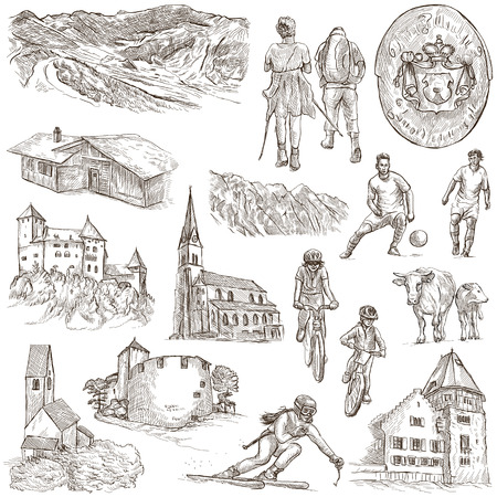 place of worship: Travel series: LIECHTENSTEIN pack no.2 - Collection of an hand drawn illustrations. Description: Full sized hand drawn illustrations freehand sketches. Drawing on white background.