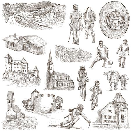 liechtenstein: Travel series: LIECHTENSTEIN pack no.2 - Collection of an hand drawn illustrations. Description: Full sized hand drawn illustrations freehand sketches. Drawing on white background.