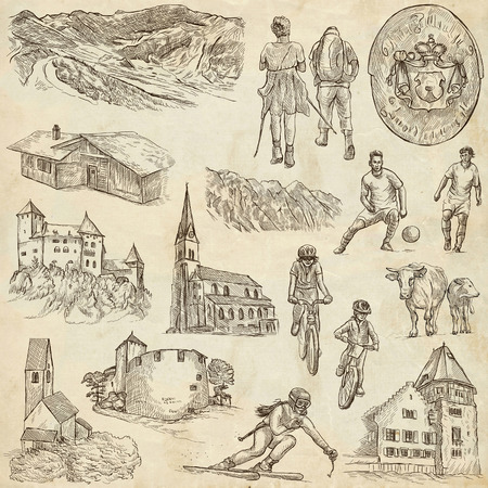 collection series: Travel series: LIECHTENSTEIN pack no.2 - Collection of an hand drawn illustrations. Description: Full sized hand drawn illustrations freehand sketches. Drawing on old paper. Stock Photo