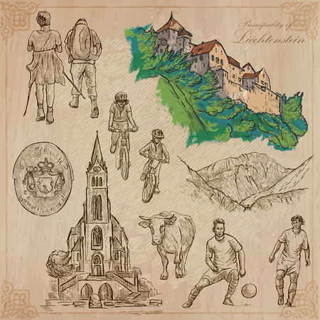 liechtenstein: Travel, LIECHTENSTEIN. Collection of an hand drawn vector illustrations. Freehand sketching. Colored background and text are isolated. Easy Editable. This series with focus on: Vacations, Hobbies, Sport and Architecture.