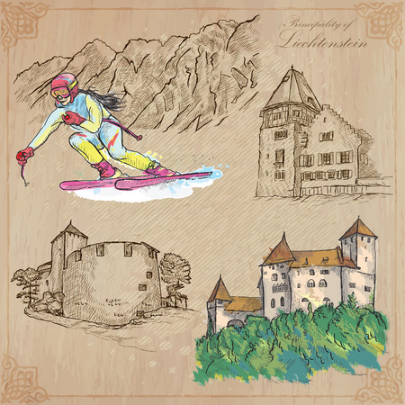 constitutional: Travel, LIECHTENSTEIN. Collection of an hand drawn vector illustrations. Freehand sketching. Colored background and text are isolated. Easy Editable. This series with focus on: Winter sport - skiing and Architecture.