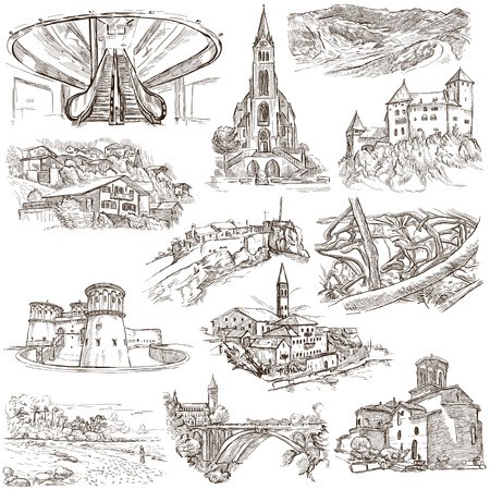 Famous Places and ARCHITECTURE around the World - Collection of an hand drawn illustrations (pack no.20). Description: Full sized hand drawn illustrations drawing on white. Stock Photo