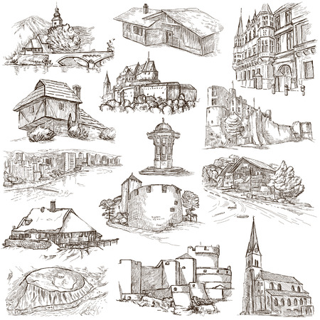 famous places: Famous Places and ARCHITECTURE around the World - Collection of an hand drawn illustrations (pack no.19). Description: Full sized hand drawn illustrations drawing on white.
