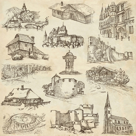 ünlü yer: Famous Places and ARCHITECTURE around the World - Collection of an hand drawn illustrations (pack no.19). Description: Full sized hand drawn illustrations drawing on old paper.