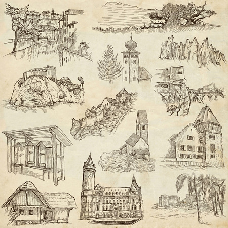 architecture drawing: Famous Places and ARCHITECTURE around the World - Collection of an hand drawn illustrations (pack no.18). Description: Full sized hand drawn illustrations drawing on old paper. Stock Photo