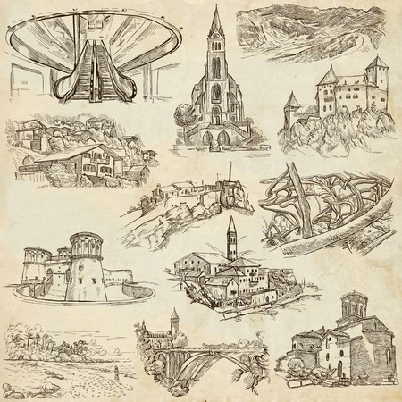 famous places: Famous Places and ARCHITECTURE around the World - Collection of an hand drawn illustrations (pack no.20). Description: Full sized hand drawn illustrations drawing on old paper.