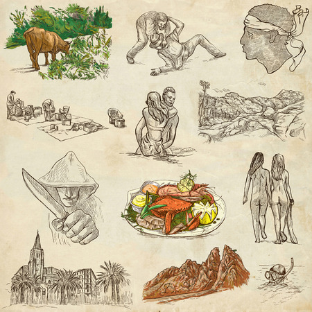 nudism: Travel series, CORSICA pack no.2 - Collection of an hand drawn illustrations. Description, Full sized hand drawn illustrations freehand sketches. Drawing on old paper. Stock Photo
