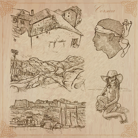 corsica: Travel, CORSICA. Collection of an hand drawn vector illustrations. Freehand sketching. Background and text are isolated. Easy Editable. Focus on - vacations, countryside, folk architecture and sea Illustration