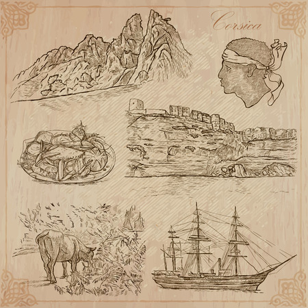 corsica: Travel, CORSICA. Collection of an hand drawn vector illustrations. Freehand sketching. Background and text are isolated. Easy Editable. Focus on - nature and travel Illustration
