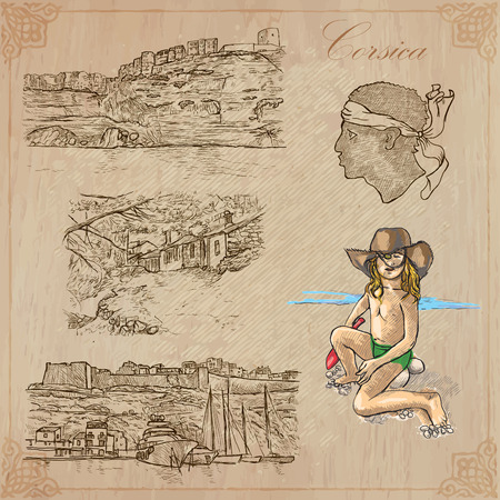 corsica: Travel, CORSICA. Collection of an hand drawn vector illustrations. Freehand sketching. Background and text are isolated. Easy Editable. Focus on - vacations.
