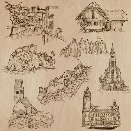 Places and ARCHITECTURE (set no.39) - Collection of an hand drawn vector illustrations. Each drawing comprise three layers of lines, the colored background is isolated. Easy editable.