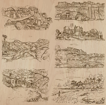 Places and ARCHITECTURE (set no.45) - Collection of an hand drawn vector illustrations. Each drawing comprise three layers of lines, the colored background is isolated. Easy editable. Illustration