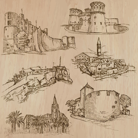 corsica: Places and ARCHITECTURE (set no.43). Pack of an hand drawn vector illustrations. Each drawing comprise three layers of lines, colored background is isolated. Editable. Focus on: Medieval architecture