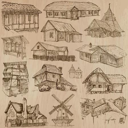 cabaña: Lugares y ARQUITECTURA (no.46 set). Paquete de una dibujados a mano ilustraciones de vectores. Cada dibujo comprenden tres capas de líneas, fondo coloreado se aísla. Fácil editable. Concéntrese en: arquitectura popular