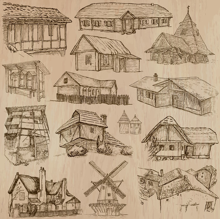 log cabin: Places and ARCHITECTURE (set no.46). Pack of an hand drawn vector illustrations. Each drawing comprise three layers of lines, colored background is isolated. Easy editable. Focus on: Folk architecture