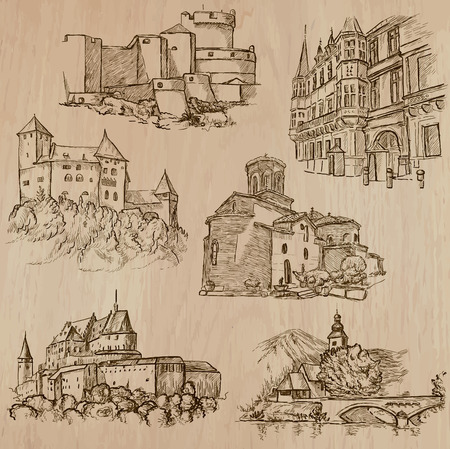 Places and ARCHITECTURE (set no.42). Pack of an hand drawn vector illustrations. Each drawing comprise three layers of lines, colored background is isolated. Easy editable. Focus on: Old architecture