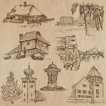 Places and ARCHITECTURE (set no.41) - Collection of an hand drawn vector illustrations. Each drawing comprise three layers of lines, the colored background is isolated. Easy editable. Illustration