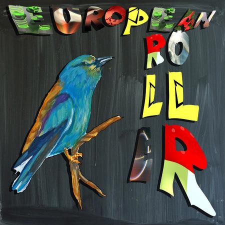 joyous life: An hand painted illustration (bird) and mixed media (alphabet and blackboard) illustration (blackboard is slightly blurred). BIRD - - EUROPEAN ROLLER