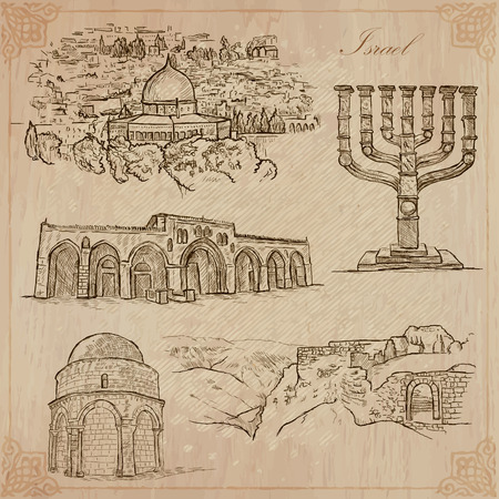 loci: An hand drawn collection, Travel - ISRAEL. Description, Vector freehand sketches. Editable in layers and groups. Background is isolated. Things, buildings, etc. are named inside the file. Illustration