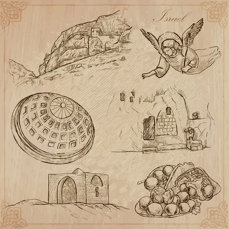 An hand drawn collection, Travel - ISRAEL. Description, Vector freehand sketches. Editable in layers and groups. Background is isolated. Things, buildings, etc. are named inside the file. Illustration