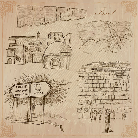 western wall: An hand drawn collection, Travel - ISRAEL. Description, Vector freehand sketches. Editable in layers and groups. Background is isolated. Things, buildings, etc. are named inside the file. Illustration