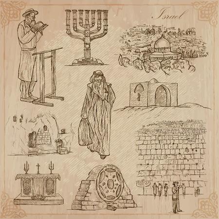 手描きコレクション、旅行 - イスラエル共和国。ベクトル フリーハンド スケッチの説明レイヤーとグループの編集。背景は分離されます。ファイル  イラスト・ベクター素材