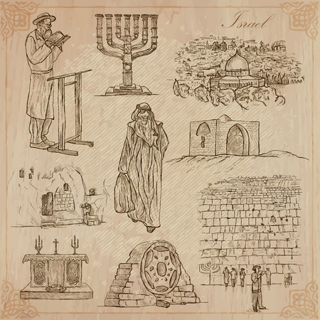 altar: An hand drawn collection, Travel - ISRAEL. Description, Vector freehand sketches. Editable in layers and groups. Background is isolated. Things, buildings, etc. are named inside the file. Illustration