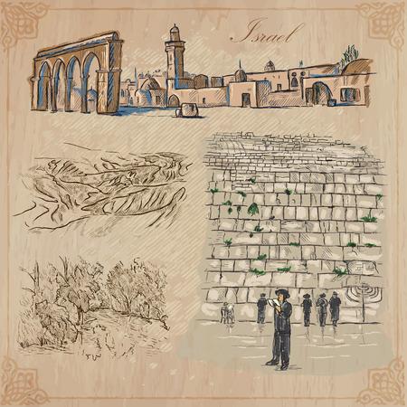 Een hand getekende collectie, Travel - ISRAEL. Beschrijving, Vector uit de vrije hand schetsen. Bewerkbare in lagen en groepen. De achtergrond is geïsoleerd. Dingen, gebouwen, enz. Worden genoemd in het bestand. Vector Illustratie