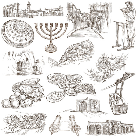 christus: Travel, ISRAEL - Collection of an hand drawn illustrations. Description: Full sized hand drawn illustrations freehand sketches. Drawing on white background. Stock Photo