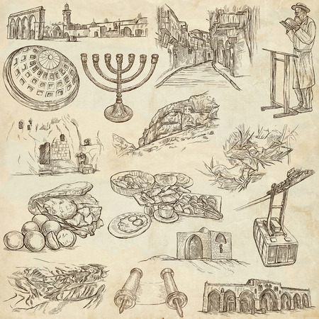 christus: Travel, ISRAEL - Collection of an hand drawn illustrations. Description: Full sized hand drawn illustrations freehand sketches. Drawing on old paper.