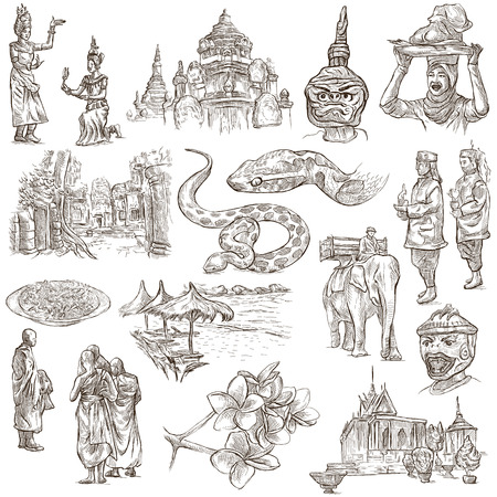 angor: Travel, CAMBODIA - Collection of an hand drawn illustrations. Description: Full sized hand drawn illustrations freehand sketches. Drawing on white background.