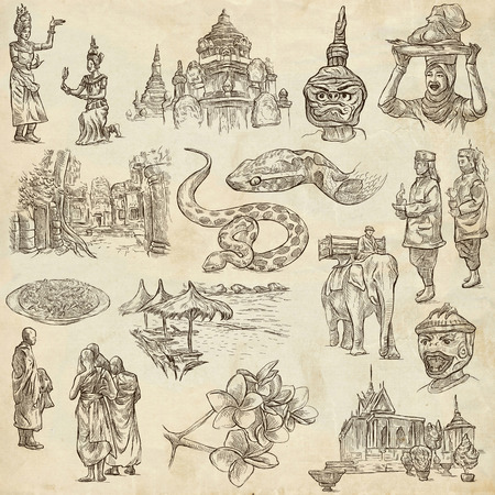 kamboja: Travel, CAMBODIA - Collection of an hand drawn illustrations. Description: Full sized hand drawn illustrations freehand sketches. Drawings on old paper. Stock Photo