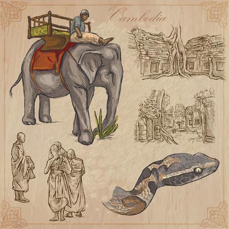手描きコレクション、旅行 - カンボジア。ベクトル フリーハンド スケッチの説明レイヤーとグループの編集。背景は分離されます。ファイル内の事