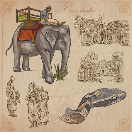 Een hand getekende collectie, Reis - Cambodja. Beschrijving, Vector uit de vrije hand schetsen. Bewerkbare in lagen en groepen. De achtergrond is geïsoleerd. Dingen, gebouwen, enz. Worden genoemd in het bestand.