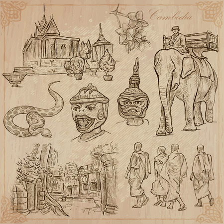 An hand drawn collection, Travel - CAMBODIA. Description, Vector freehand sketches. Editable in layers and groups. Background is isolated. Things, buildings, etc. are named inside the file. Stock Illustratie