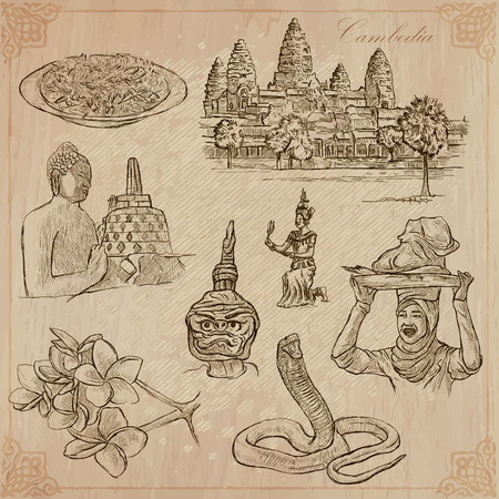 An hand drawn collection, Travel - CAMBODIA. Description, Vector freehand sketches. Editable in layers and groups. Background is isolated. Things, buildings, etc. are named inside the file. Vectores