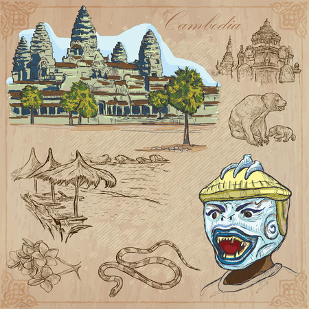 kamboja: An hand drawn collection, Travel - CAMBODIA. Description, Vector freehand sketches. Editable in layers and groups. Background is isolated. Things, buildings, etc. are named inside the file. Illustration