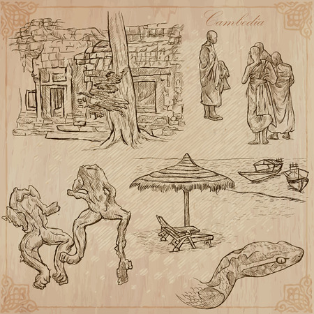 named: An hand drawn collection, Travel - CAMBODIA. Description, Vector freehand sketches. Editable in layers and groups. Background is isolated. Things, buildings, etc. are named inside the file. Illustration
