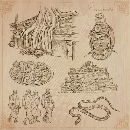 ruins: An hand drawn collection, Travel - CAMBODIA. Description, Vector freehand sketches. Editable in layers and groups. Background is isolated. Things, buildings, etc. are named inside the file. Illustration