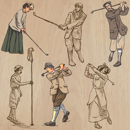 golfer: VINTAGE and retro GOLF, Golfers and Golf Equipment. Collection of an hand drawn illustrations (line art vectors). Drawings comprises a few layers of lines, background is isolated. Editable in groups. Illustration